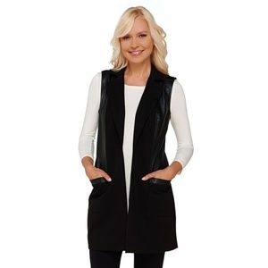 G.I.L.I. Women's Ponte and Faux Leather Open Front